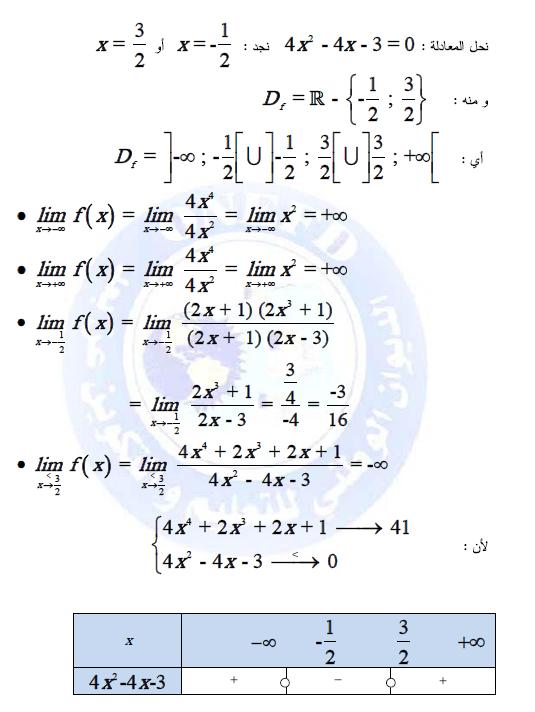 تمارين في دروس النهايات و الاستمرار مع الحلول do.php?img=9553