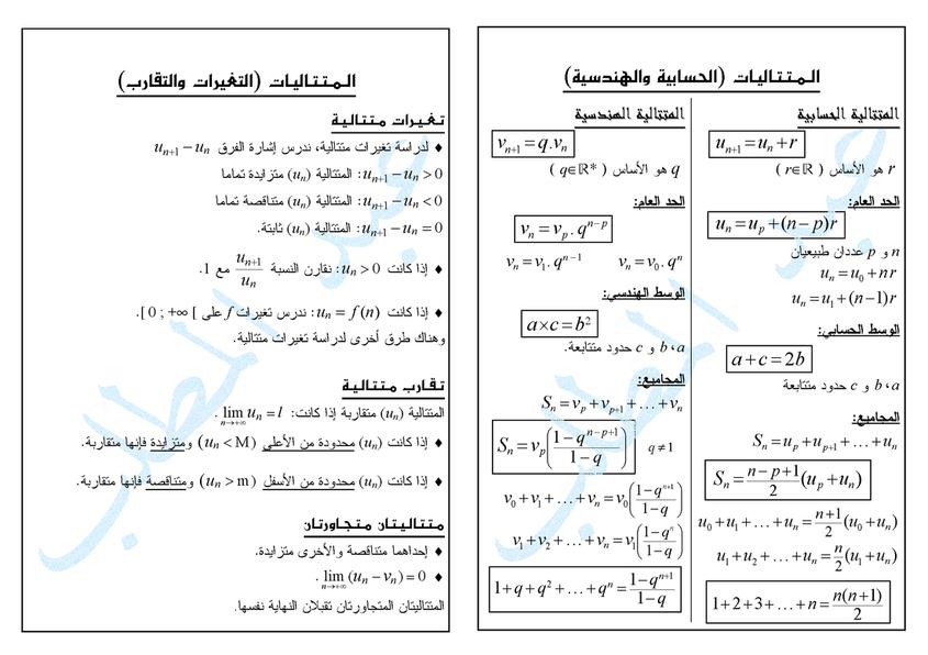 ملخصات دروس الرياضيات ثانوي