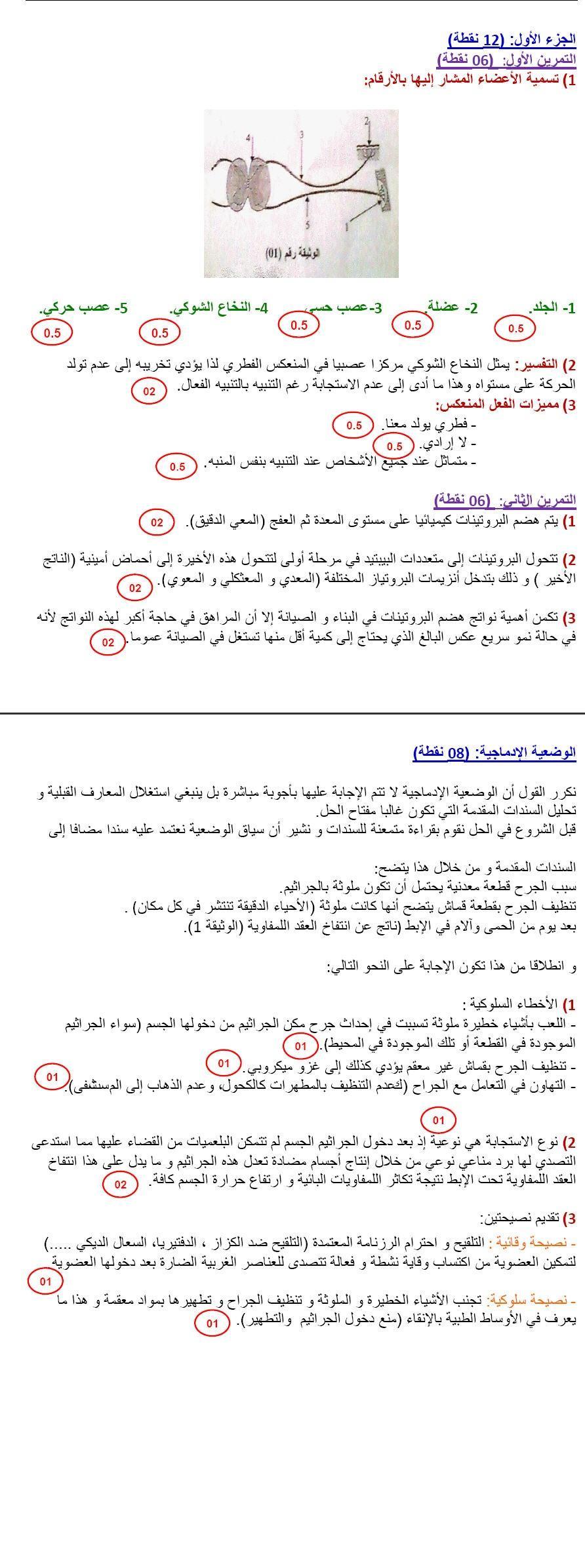 تصحيح شهادة التعليم المتوسط 2012 مادة العلوم الطبيعية والحياة